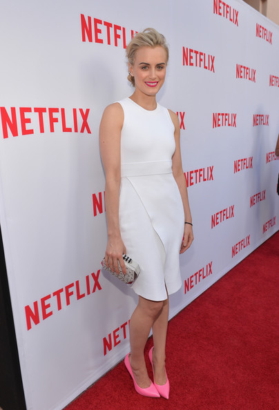 Taylor Schilling Cocktail Dress [red carpet,red carpet,clothing,dress,cocktail dress,carpet,shoulder,red,premiere,joint,flooring,taylor schilling,north hollywood,california,leonard h. goldenson theatre,netflix,academy panel ``women ruling tv,academy panel women ruling tv]