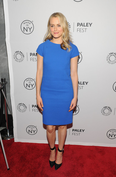 Taylor Schilling Day Dress [orange is the new black,made in new york,clothing,dress,cocktail dress,cobalt blue,shoulder,carpet,electric blue,red carpet,hairstyle,joint,taylor schilling,new york city,the paley center for media,paleyfest]