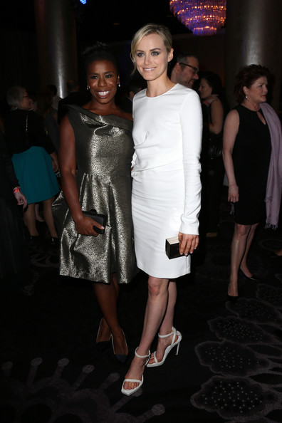 Taylor Schilling Strappy Sandals [fashion,clothing,dress,cocktail dress,shoulder,beauty,event,fashion design,fashion model,haute couture,beverly hills,california,the beverly hilton hotel,television critics association awards,uzo aduba,taylor schilling]