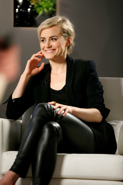 Taylor Schilling Blazer [taylor schilling,variety studio actors,actors,hair,beauty,blond,skin,tights,fashion,hairstyle,sitting,leggings,leg,los angeles,california,variety emmy studio,autograph collection hotels]