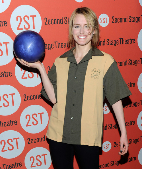 Taylor Schilling Short Straight Cut [shirt,new york city,23rd annual second stage theatre all-star bowling classic,lucky strike lanes lounge,taylor schilling]