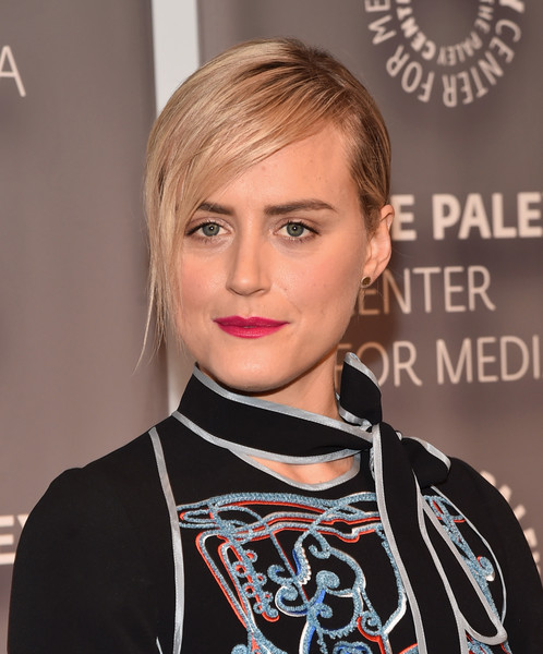 Taylor Schilling Classic Bun [orange is the new black,hair,face,hairstyle,eyebrow,blond,lip,beauty,chin,bangs,brown hair,taylor schilling,arrivals,paleylive la,paleylive la,beverly hills,california,the paley center for media]