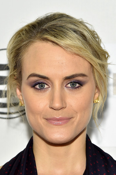 Taylor Schilling Messy Updo [the overnight premiere,hair,face,eyebrow,hairstyle,blond,chin,lip,forehead,beauty,cheek,taylor schilling,new york city,bmcc tribeca pac,tribeca film festival,premiere]