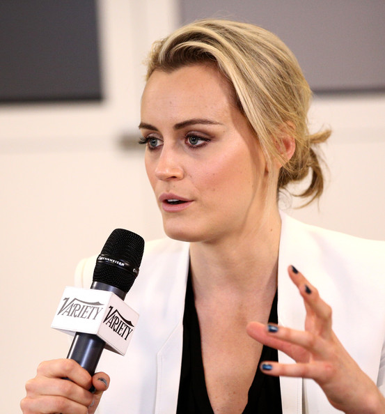 Taylor Schilling Twisted Bun [hair,face,skin,blond,beauty,eyebrow,hairstyle,cheek,lip,chin,taylor schilling,variety awards,west hollywood,california,store,studio,variety awards studio,leica gallery]