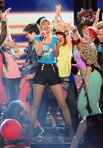Taylor Swift High-Waisted Shorts [performance,entertainment,thigh,event,performing arts,stage,public event,leg,fun,dancer,taylor swift,billboard music awards,las vegas,nevada,mgm grand garden arena,show]
