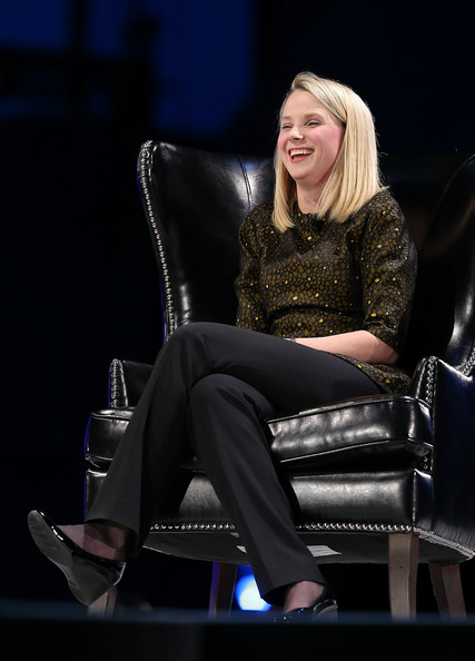 Marissa Mayer paired a brown print blouse with black slacks for the Salesforce conference.