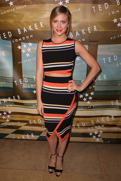 For her shoes, Brittany Snow chose classic black open-toe ankle-strap heels.