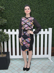 Vanessa Marano attended the Ted Baker Spring 2017 launch wearing a sheer-sleeve floral blouse from the label.
