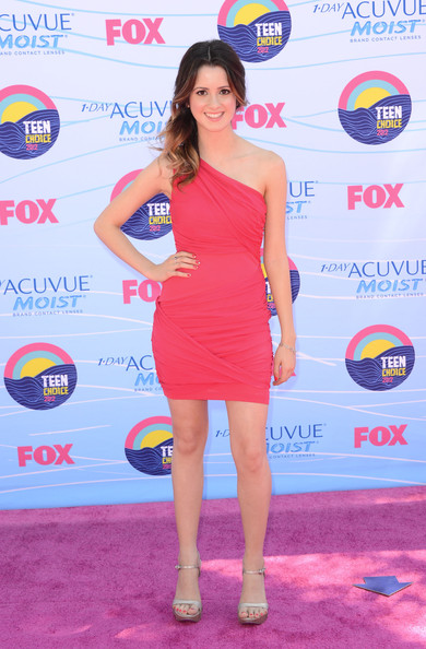 Laura Marano in One-Shoulder Pink