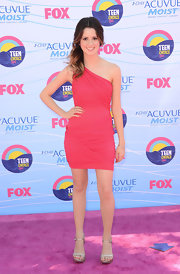 Laura Marano kept things simple and sweet in this hot pink dress and silver platforms.