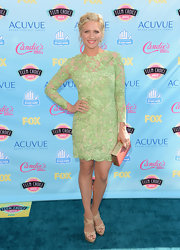 Brittany Snow looked lovely in a lime green floral lace dress.