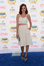 Haley Ramm's lacy white skirt and matching crop-top were an adorable pairing.