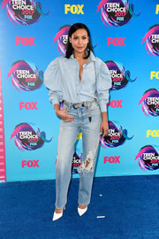 Naya Rivera worked a Marques Almeida denim button-down with puffed sleeves at the 2017 Teen Choice Awards.