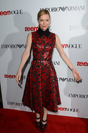 Leslie Mann looked edgy and preppy in this leather collared rose dress at the Young Hollywood Party.