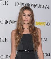 Kaia Gerber paired her LBD with a matching skinny belt.