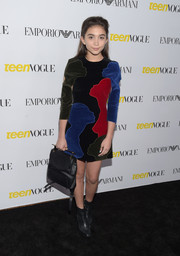 Rowan Blanchard paired her dress with black Nicholas Kirkwood ankle boots.