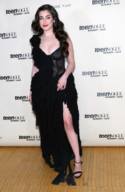 Lauren Jauregui looked red carpet-ready in a black ruffle gown at the Teen Vogue Summit.