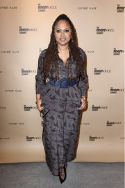 Ava DuVernay donned a gray camo-print maxi shirtdress by L'Agence for the Teen Vogue Summit.