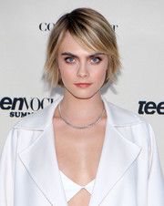 Cara Delevingne looked cute with her choppy bob at the Teen Vogue Summit.