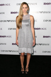 Greer Grammer went for simple glamour in a sleeveless silver cocktail dress at the Teen Vogue Young Hollywood party.