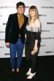 Amy Astley sparkled in a beaded black-and-white top at the Teen Vogue Young Hollywood party.