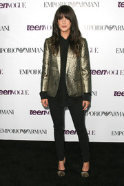 Shenae Grimes was androgynous-chic at the Teen Vogue Young Hollywood party in a gold blazer and black skinnies.
