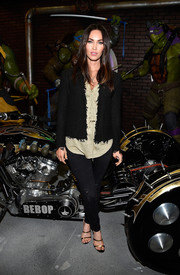 Strappy two-tone sandals by Tamara Mellon finished off Megan Fox's look in sexy style.