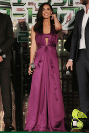 Megan Fox proved sexy and classy could go together when she wore this purple Ferragamo halter gown to the 'Teenage Mutant Ninja Turtles' premiere in Tokyo. The matching bralette added a unique touch while tempering the plunging neckline.