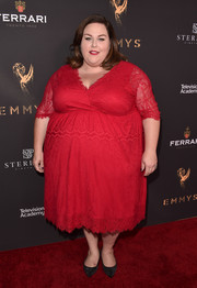 Chrissy Metz was classic in a scarlet lace cocktail dress at the Television Academy's performers peer group celebration.