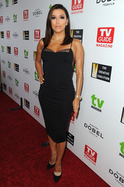 Eva Longoria looked alluring in a fitted lace-panel LBD by Noam Hanoch at the Television Industry Advocacy Awards.