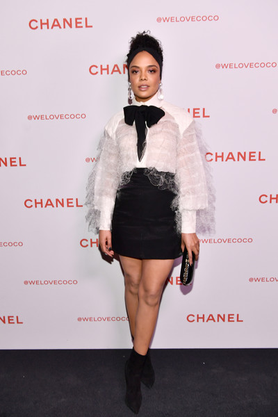 Tessa Thompson Ankle Boots [fashion model,flooring,fashion,little black dress,joint,shoulder,outerwear,leg,formal wear,cocktail dress,tessa thompson,@welovecoco,chanel beauty house,california,los angeles,chanel party]