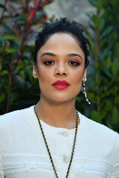 Tessa Thompson Messy Updo [haute couture spring summer,chanel haute couture spring summer 2019,hair,face,lip,eyebrow,lady,beauty,head,hairstyle,chin,black hair,tessa thompson,front row,part,paris,france,chanel,paris fashion week,show]