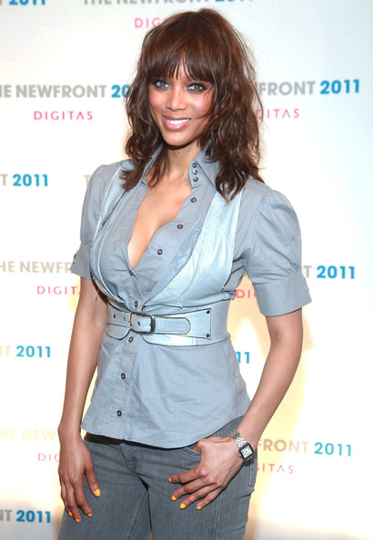 More Pics of Tyra Banks Medium Curls with Bangs (1 of 11) - Tyra Banks Lookbook - StyleBistro
