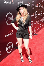 ZZ Ward styled her outfit with a pair of up-to-there gladiator heels.