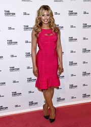 Laverne Cox teamed her sizzling-hot dress with studded black pumps.