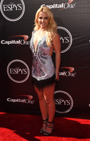 Britney Spears looked like a modern flapper girl in a super-sexy beaded and fringed mini dress by Davidson Zanine during the ESPYs.