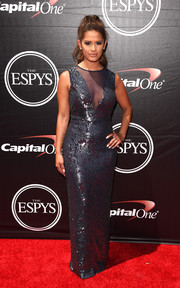 Rocsi Diaz looked vampy at the ESPYs in a sheer-panel gunmetal sequined gown by JS Collections.