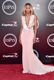 It was yet another skin-flaunting moment for Ciara when she wore this plunging pink and silver cutout gown by Roberto Cavalli to the 2016 ESPYs.