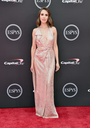 Alison Brie ravished in a blush Vivienne Westwood halter gown with a plunging neckline and a hip-high slit at the 2018 ESPYS.