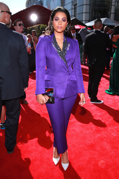 More Pics of Lilly Singh Metallic Clutch (1 of 1) - Lilly Singh Lookbook - StyleBistro [red carpet,suit,red carpet,carpet,clothing,pantsuit,formal wear,fashion,flooring,premiere,cobalt blue,lilly singh,espys,microsoft theater,los angeles,california]