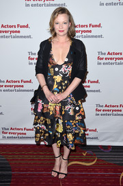 Samantha Mathis looked festive in this low-cut, layered print dress at the Actors Fund Gala.