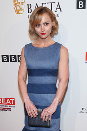 Christina Ricci arrived for the BAFTA tea party carrying an elegant silver clutch.