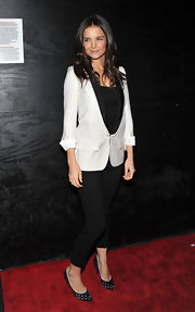 Katie Holmes injected her red carpet look with playfulness in the form of black-and-white satin polka dotted pumps.