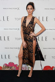 Nicole Trunfio went commando at the Elle Style Awards in a racy print dress with lace-up sides.
