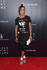 June Ambrose kept it fun and playful on the red carpet in this statement-making T-shirt during the premiere of 'The Giver.'