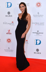 Victoria Beckham's black slip dress at the Global Gift Gala struck the perfect chord between sultry and elegant!