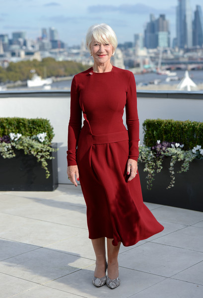 Helen Mirren chose a long-sleeve red midi dress for the 'Good Liar' photocall in London.