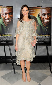 Georgina Chapman attended 'The Intouchables' screening wearing a pair of delicate strappy champagne satin heels.