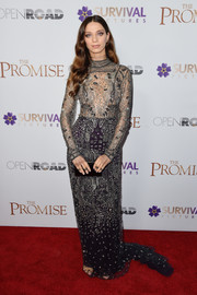 Angela Sarafyan made a splendid choice with this beaded, sheer-bodice gown by Reem Acra for the New York screening of 'The Promise.'