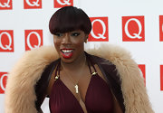 Estelle used lots of black liner and a pair of long false lashes to create some eye-enhancing drama at the Q Awards.